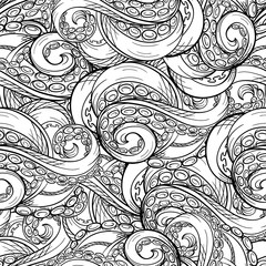 Vector tentacles seamless pattern