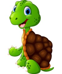 Cute turtle cartoon sitting