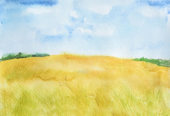 Watercolor autumn landscape. Blue sky with yellow fields. Beautiful country landscape.