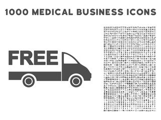 Gray Free Delivery icon with 1000 medical business vector design elements. Set style is flat symbols, gray color, white background.