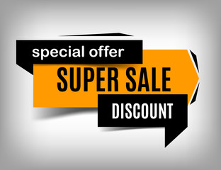 Super sale banner, vector discount image, special offer.