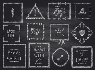 Chalkboard fashion hand drawn frames and philosophy quote phrases mega set in boho style, hippie, indie style