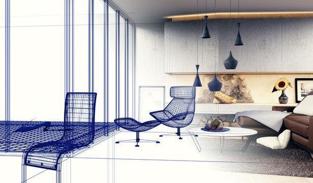 Interior Design - 3D render eines modernen Wohnzimmers (Skizze)