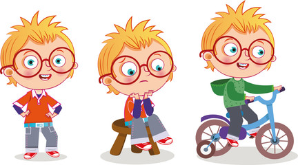 Vector clip-art character page of a blonde boy.