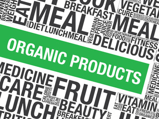 Organic Products word cloud vector concept presentation background