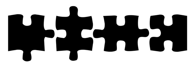 Puzzle Teile - Schwarz 4x1