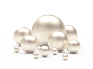 Group of white pearls of different sizes isolated on white background. 3D illustration