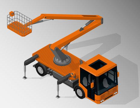 Vector isometric illustration of mobile elevating work platform. Equipment for maintenance of urban infrastructure.
