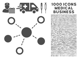 Gray Virtual Links icon with 1000 medical business vector pictograms. Set style is flat symbols, gray color, white background.