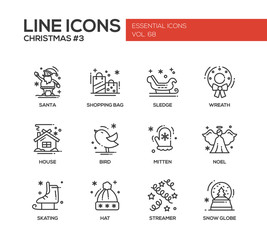 Christmas and New Year - simple line design icons set
