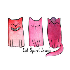 "Cartoon and funny watercolor smiling cat with quote ""cat spirit inside"""