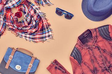 Hipster Fashion Clothes Accessories Set. Fashion Girl Autumn Outfit. Fashion Design. Stylish Jacket, Glamor Handbag, Trendy Scarf, Hat, Rose. Creative fashion Urban Concept. Top view. Overhead.Minimal