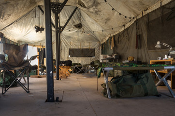 On the inside a army tent