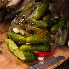 Salt cucumbers briefly stored