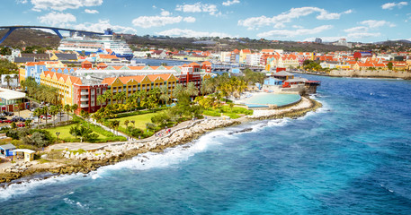 Papiers peints Caraibes Aerial panorama of Willemstad town in Curacao