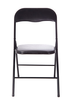 black folding office chair isolated on white