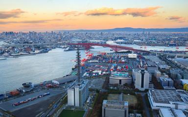 Osaka Bay, in Osaka Japan Industries locate around Osaka Bay