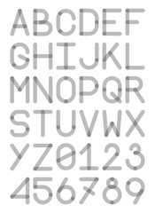 english font typeface capital letters and numbers modern style sans serif gray monochrome vector illustration