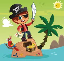 Cute pirate boy and his treasure.