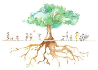 公園の大木、人々、根