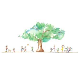 公園の大木、人々