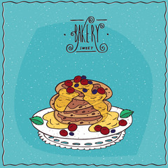 Stack of pancakes with honey and red berries, cherry or currant, lie on lacy napkin. Blue background and ornate lettering bakery. Handmade cartoon style