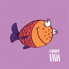 Cute fish with a big smile on slightly desaturated magenta background. Lettering funny fish. Handmade cartoon style