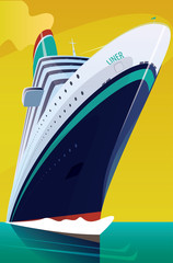 Big beautiful cruise liner cuts through the waves in the open sea on a clear day. Front view. Marine adventure or voyage concept