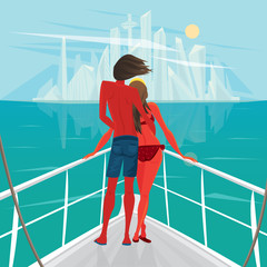 Tanned young couple standing on the deck of the ship and looks at the big modern city - End of holiday or Way home concept