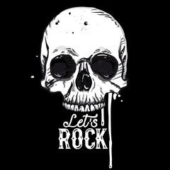 Rock skull label