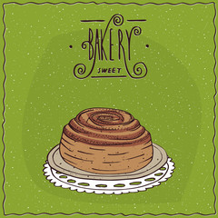 Cinnamon roll lie on lacy napkin. Green background and ornate lettering bakery. Handmade cartoon style