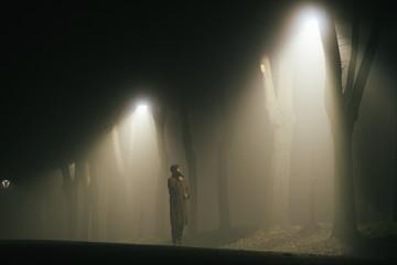 Man alone on the park lane