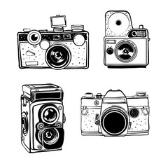 Retro photo camera set vector doodle black and white illustration