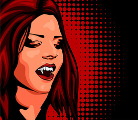 Vampire beautyful woman, red hair, open mouth, predatory vampire fang, haloween's vector image.