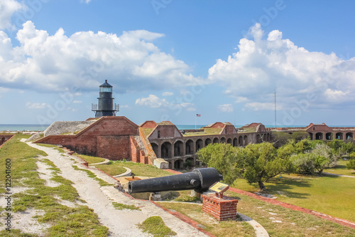 The Garden Key Lighthouse and cannon atop Fort Jefferson in