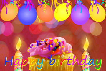 Birthday card photos royalty free images graphics vectors birthday greeting card with cupcake balloon strip and candles m4hsunfo