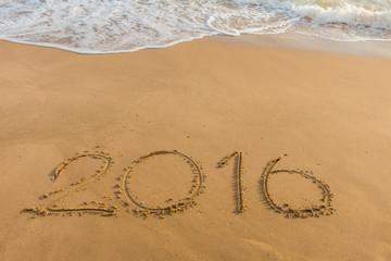 Year 2016 on the beach