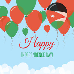 Jordan Independence Day Flat Greeting Card. Flying Rubber Balloons in Colors of the Jordanian Flag. Happy National Day Vector Illustration.