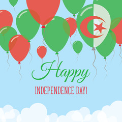 Algeria Independence Day Flat Greeting Card. Flying Rubber Balloons in Colors of the Algerian Flag. Happy National Day Vector Illustration.