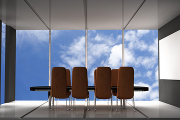 Modern conference room with furniture,  big windows and sky view 3D Render