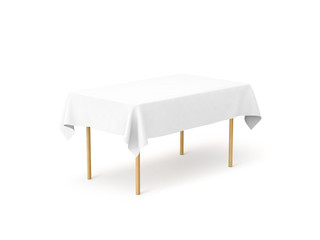 Bank white tablecloth mock up, clipping path, 3d rendering. Clear table cloth design mockup isolated. Fabric space satin on desk template. Kitchen wood table clean textile overlay. Setting cafe table.