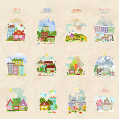big collection of isolated towns and villages in different seaso