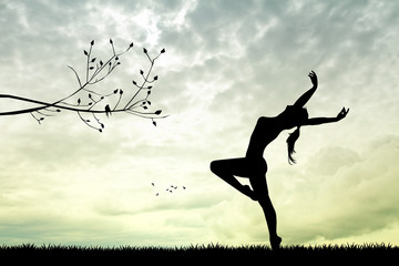 girl dancing at sunset