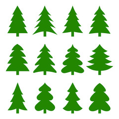 Set of different fir trees. Christmas collection. Vector illustration.