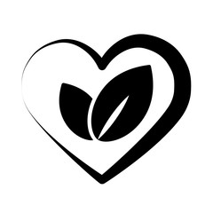 eco bio leaves in heart love black icon on white background