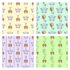 Set of seamless vector floral patterns with insect, colorful backgrounds with decorative ladybugs,butterfly,flowers.Graphic vector illustration. Series of Animals and Insects Seamless vector Patterns.