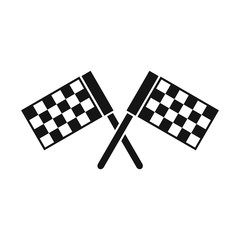 Crossed chequered flags icon in simple style on a white background vector illustration