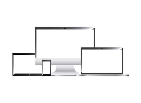 wearable technology set devices elstronics vector illustration design