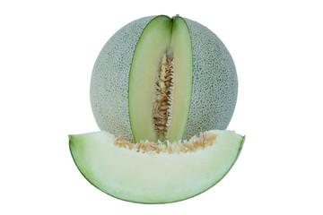 cantaloupe melon slices isolated on white background, one cantal