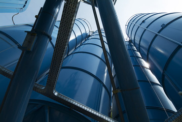 View from below of Tower Silos Bulk Storage
